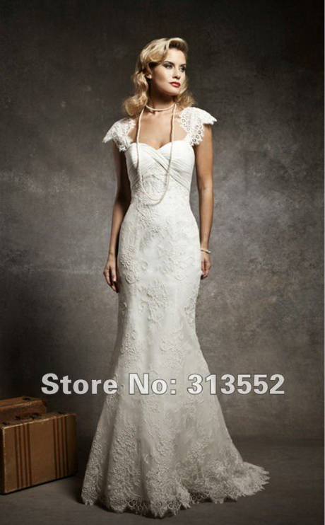 1920s inspired cap sleeve mermaid lace wedding dress by justin
