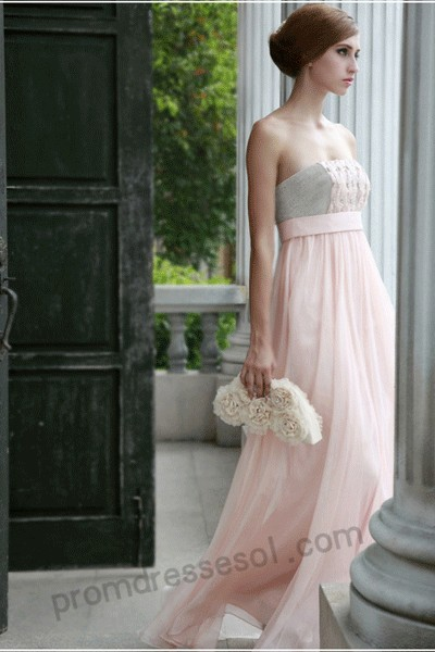 tiffany coral pink strapless floor-length chiffon evening/party dress(80592)