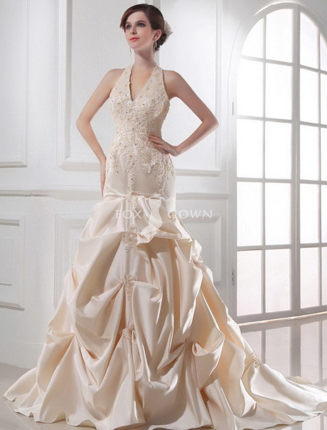 Champagne wedding dresses for Champagne colored wedding dresses