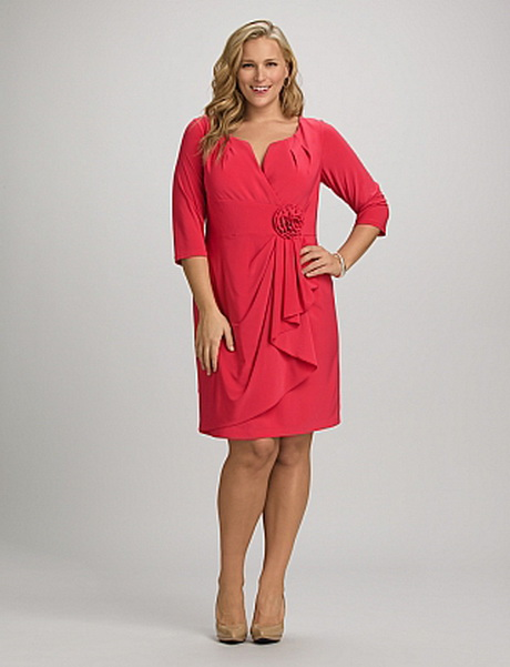 2161308e75e Plus Size Pleated Rosette Faux Wrap Dress