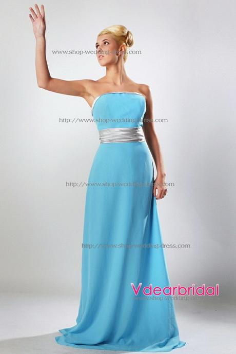 Aqua Blue And Silver Bridesmaid Dresses