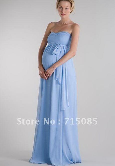 light blue chiffon strapless empire longmaternity bridesmaid dress