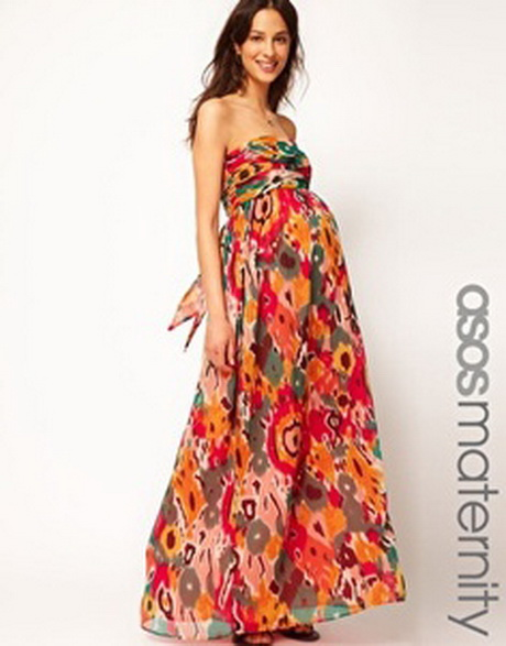 enlarge asos maternity exclusive bandeau maxi dress in print