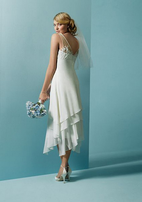 Beach wedding dresses tea length for Simple tea length wedding dresses