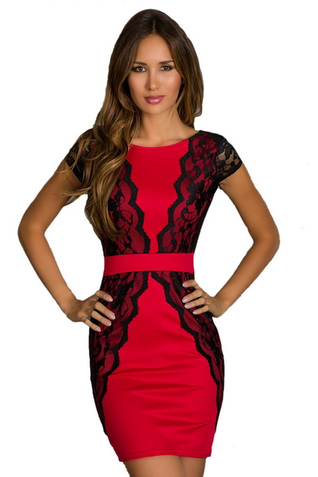 2019 year looks- Lace and red black dress