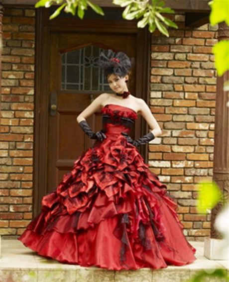 wedding dresses black and red wedding dress