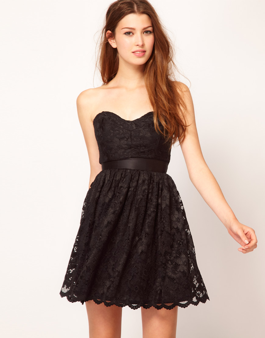 ASOS Black Sweetheart Neck Lace Dress