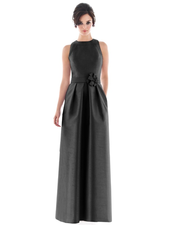 Dessy Full Length Jewel Neck Bridesmaids Dress