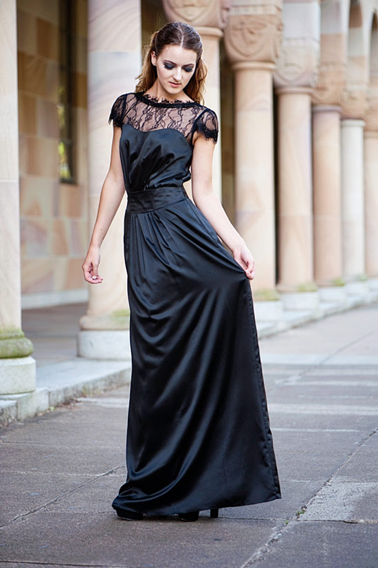 Sentani Long Black Bridesmaids Dress