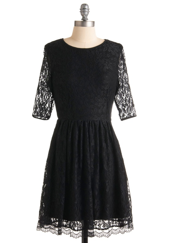 Modcloth - Black Lace Bridesmaids Dress with heart shape cutout back