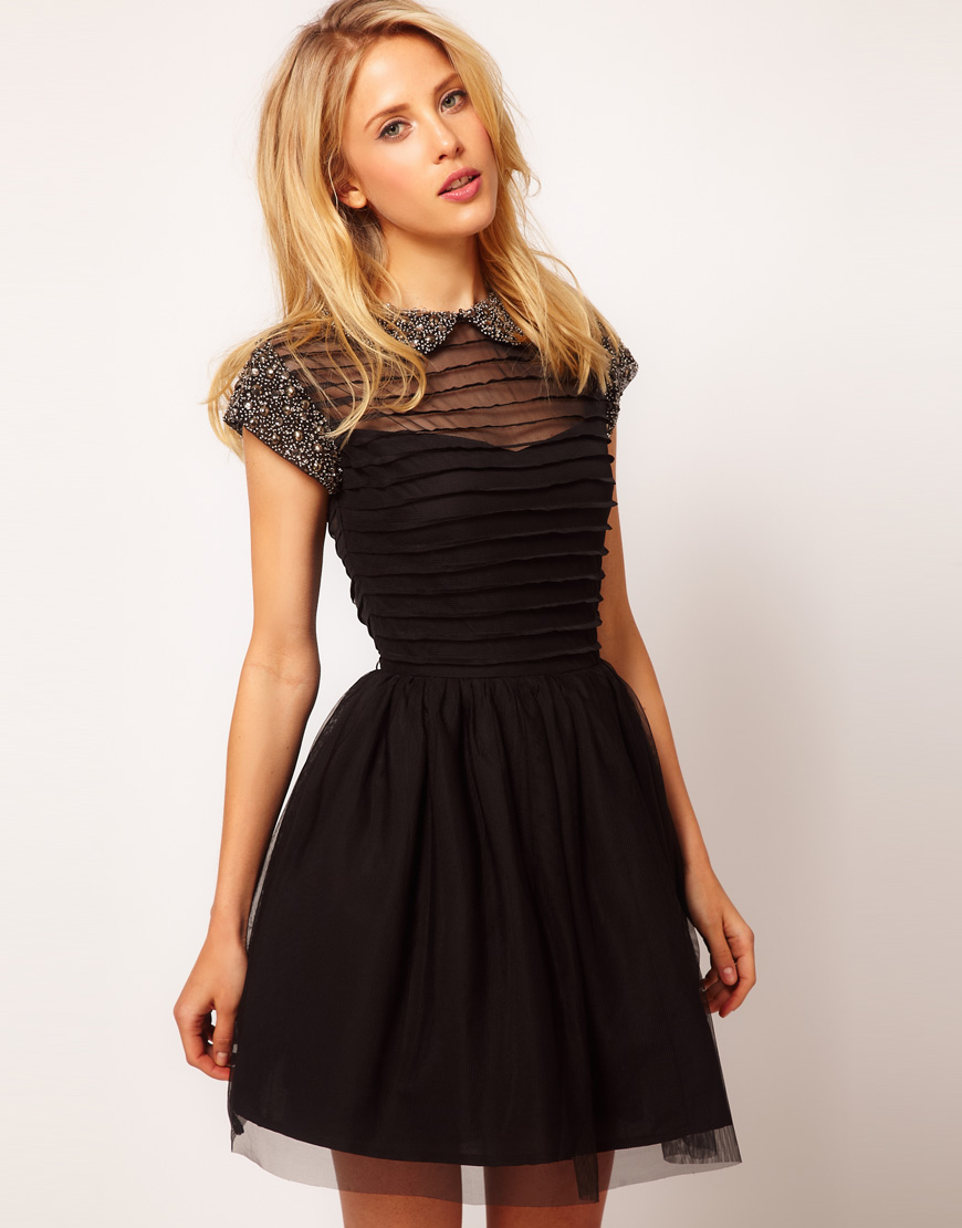 ASOS Black Embellished Bridesmaids Dress