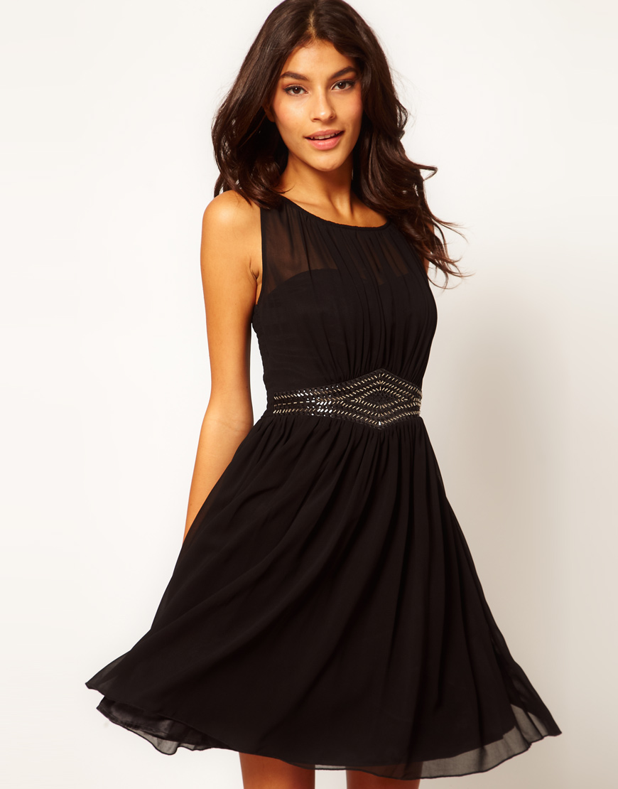 ASOS Black Embellished Waist Dress