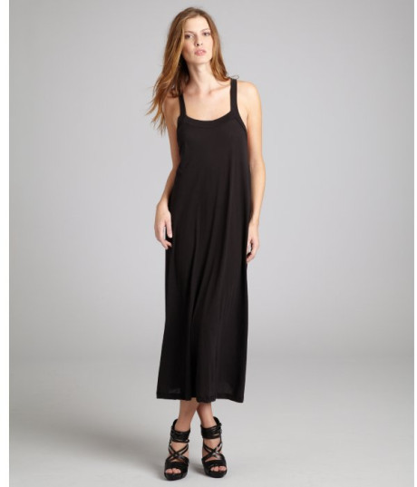 2019 year for lady- Cotton black maxi dresses
