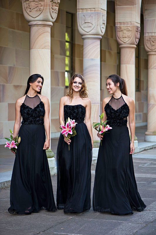 Sentani Long Black Bridesmaids Dresses