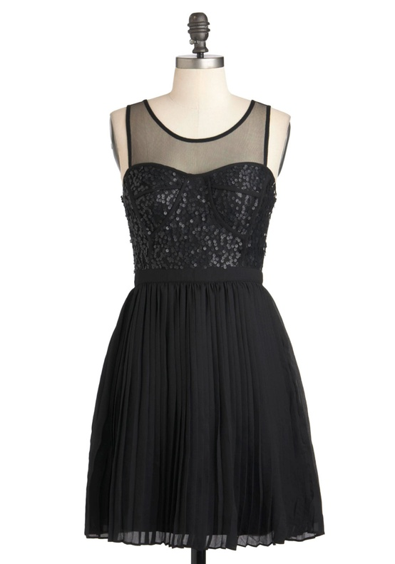 Modcloth - Black Illusion Neckline Bridesmaids Dress