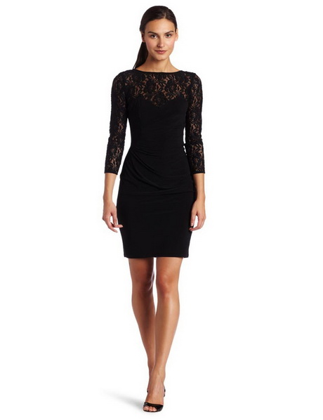 Long black lace dresses with sleeves