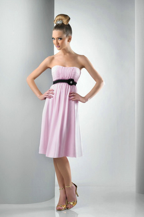 Ruched Chiffon Black Ribbon Tea Length Pink Bridesmaid Dress On    Baby Pink And Black Bridesmaid Dresses