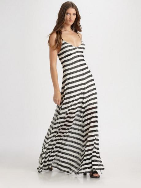 Black And White Striped Maxi Dresses