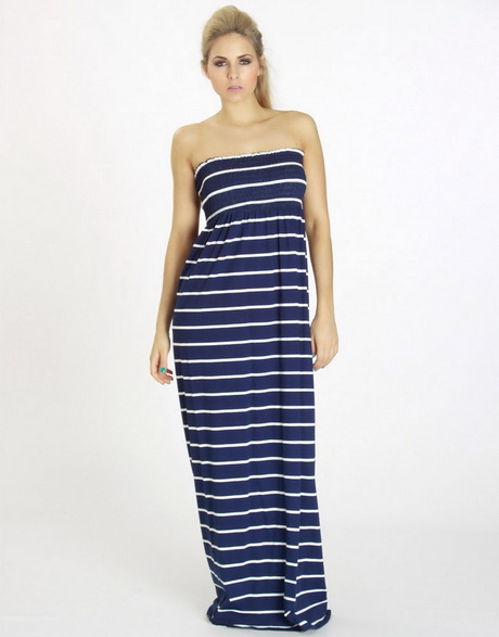 Our horizontally striped maxi sundress in four color combinations provides a great look for any summer occasion. It features a stretchy cotton tank top style bodice in your choice of royal blue, black.