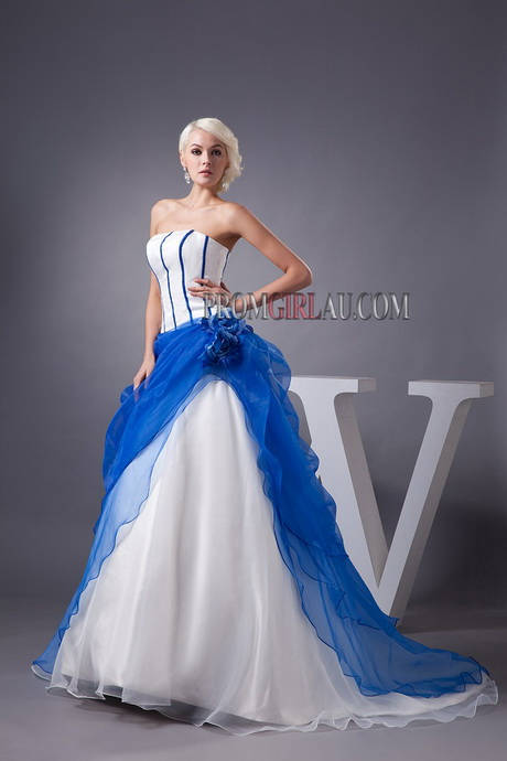 Blue and white wedding dress for Blue and white weddings