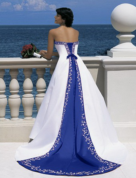 White Wedding Dresses With Royal Blue : Plus size blue and white pickups strapless wedding gowns