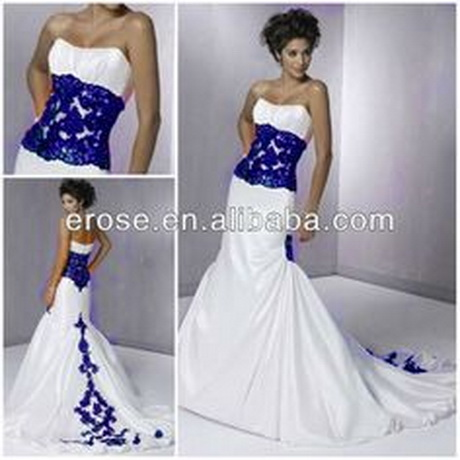 Blue and white wedding dresses for Royal blue and silver wedding dresses