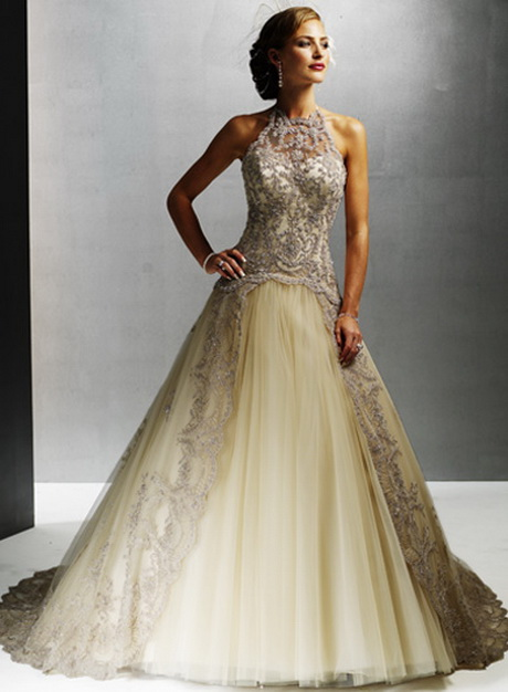 Champagne colored wedding dresses for Wedding dresses in color