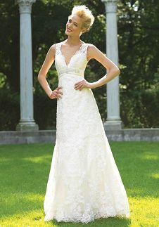 A-Line V-Neck Floor Length Attached Soft Satin Beading/ Lace Wedding Dress Style 8634