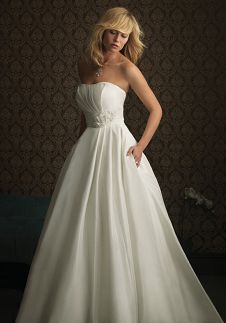 A-Line Strapless Floor Length Attached Silk-like Taffeta Wedding Dress Style 8771