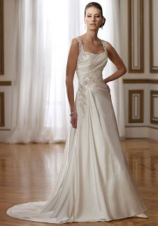 A-Line Scoop Floor Length Attached Satin Beading/ Lace Wedding Dress Style Y21075 Phyllis