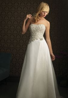 A-Line Strapless Floor Length Attached Satin-Backed Taffeta Beading Wedding Dress Style 8757