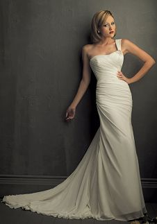 A-Line One-Shoulder Floor Length Attached Crepe Chiffon Brooch Wedding Dress Style 8702