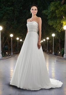 A-Line Strapless Floor Length Attached Chiffon Beading/ Embroidery Wedding Dress Style 8427