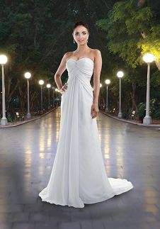 A-Line Strapless Floor Length Attached Supreme Chiffon Beading Wedding Dress Style 8403