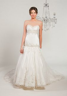 A-Line Strapless Dropped Floor Length Cathedral Wedding Dress 8352