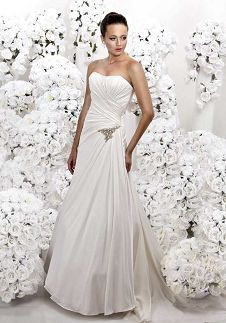 A-Line Strapless Floor Length Attached Tissue Satin Beading Wedding Dress Style 3078