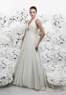 A-Line Floor Length Attached Tissue Satin Beading Wedding Dress Style 3067