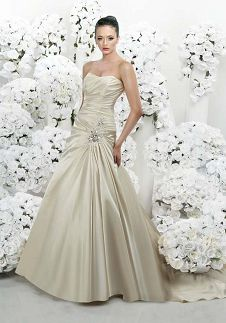 A-Line Sweetheart Floor Length Attached Satin Beading Wedding Dress Style 3058