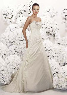 A-Line Strapless Floor Length Attached Taffeta Beading Wedding Dress Style 3057