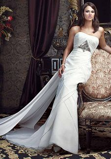 A-Line Strapless Floor Length Attached Chiffon Beading Wedding Dress Style 2992