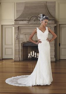 A-Line V-Neck Floor Length Attached Allover Lace/ Illusion Wedding Dress Style 29246 Contessa