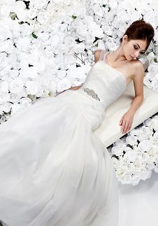 A-Line One-Shoulder Floor Length Attached Tulle Beading Wedding Dress Style 3056