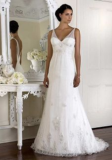 Sheath V-Neck Floor Length Attached French Tulle/ Charmeuse Beading Wedding Dress Style D959