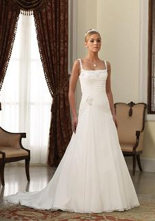 A-Line Square Floor Length Attached Chiffon Beading Wedding Dress Style 210269 Josefina