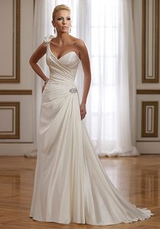 A-Line Sweetheart Floor Length Attached Satin Wedding Dress Style Y21074 Athena