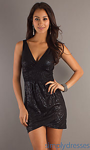 Buy Short V-Neck Black Dress at SimplyDresses