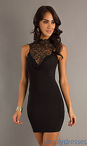 Buy Short High Neck Lace Dress at SimplyDresses