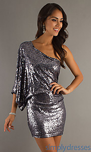 Buy One Sleeve Sequined Short Dress at SimplyDresses