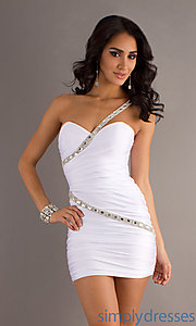 Buy Short One Shoulder Dress with Beaded Detail at SimplyDresses