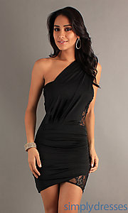 Buy One Shoulder Black Dress  at SimplyDresses